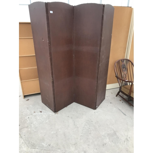 715 - A FOUR SECTION LEATHERETTE DRESSING SCREEN...