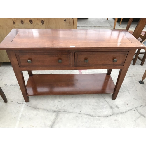 728 - A MODERN MAHOGANY SIDE TABLE WITH TWO DRAWERS AND LOWER SHELF...