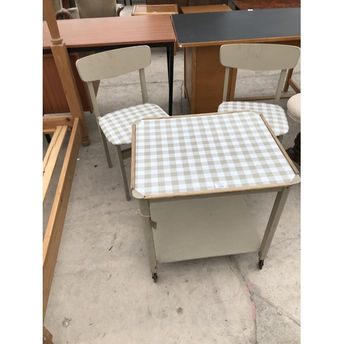 730 - A RETRO TROLLEY TABLE AND TWO CHAIRS...