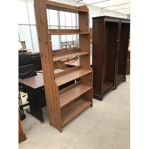 733 - A PINE FIVE TIER BOOKCASE...