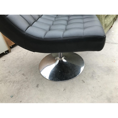 736 - A RETRO LEATHERETTE SWIVEL CHAIR ON CHROME PEDESTAL SUPPORT...