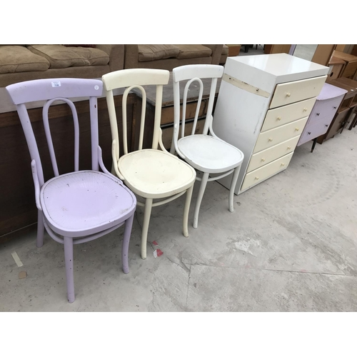 738 - FIVE SHABBY CHIC ITEMS - THREE CHAIRS, A CHEST OF FIVE DRAWERS AND A DRESSING TABLE...