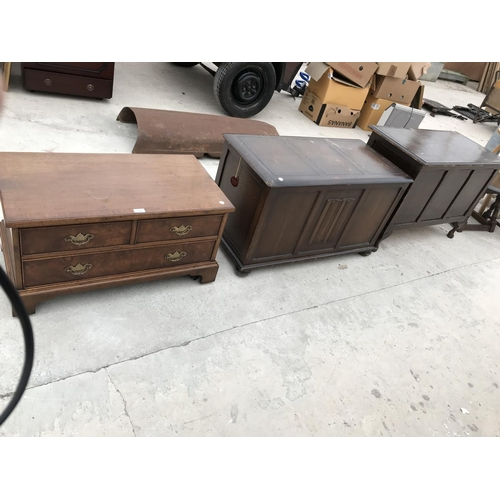 744 - A MAHOGANY TV STAND AND TWO OAK BEDDING CHESTS...