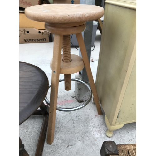 745 - FOUR ITEMS -A PRIORY STYLE OAK SIDE TABLE, A BEECH SCREW TOP STOOL, AN OAK WOVEN TOP STOOL AND A PAI...