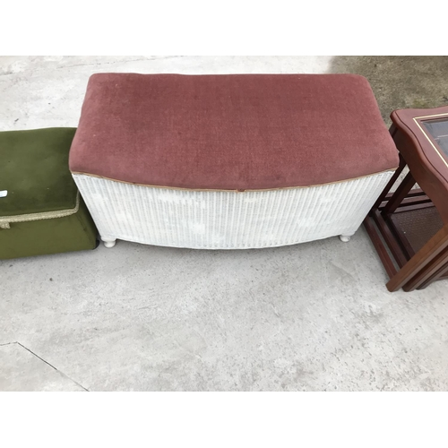 746 - FIVE ITEMS - AN UPHOLSTERED STORAGE FOOTSTOOL, A LLOYD LOON STYLE OTTOMAN, A MAHOGANY NEST OF TABLES...