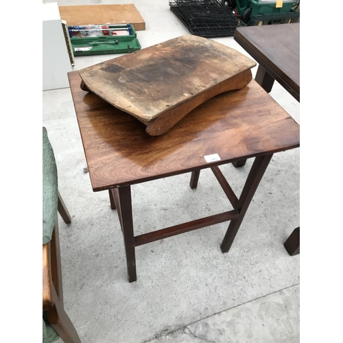 749 - A MAHOGANY OCCASIONAL TABLE AND A 1960s SERVING TRAY...