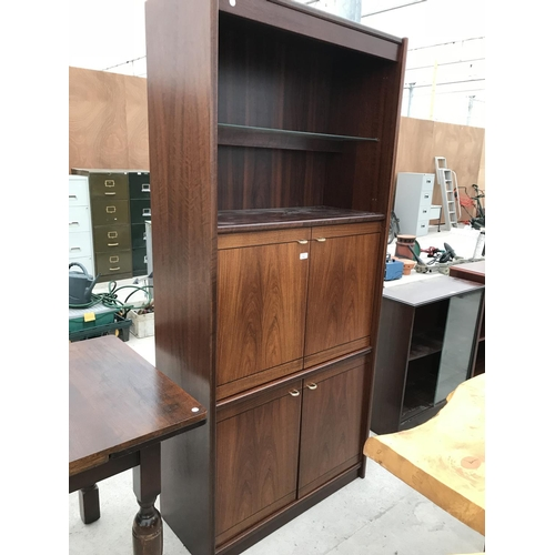 751 - A MAHOGANY CABINET WITH FOUR DRAWERS AND UPPER SHELVING...