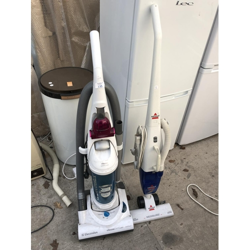 135 - TWO ITEMS TO INCLUDE AN 'ELECTROLUX VITESSE' 1600 WATT HOOVER AND A 'BISSELL EASY VAC' BOTH W/O...
