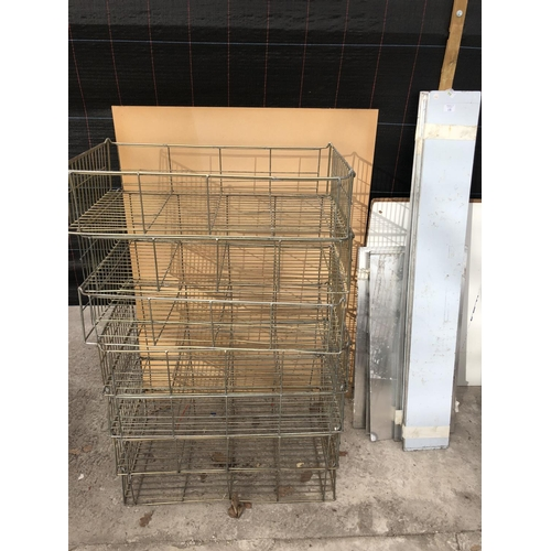 15 - VARIOUS METAL PLATES AND SEVEN WIRE CRATES...