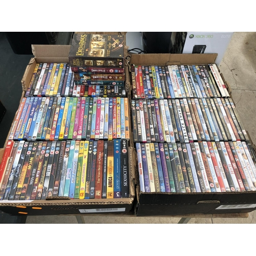 159 - TWO BOXES OF ASSORTED DVD'S TO INCLUDE 'LORD OF THE RINGS' BOX SET, 'SMALLVILLE' TV SERIES, ETC (QTY...