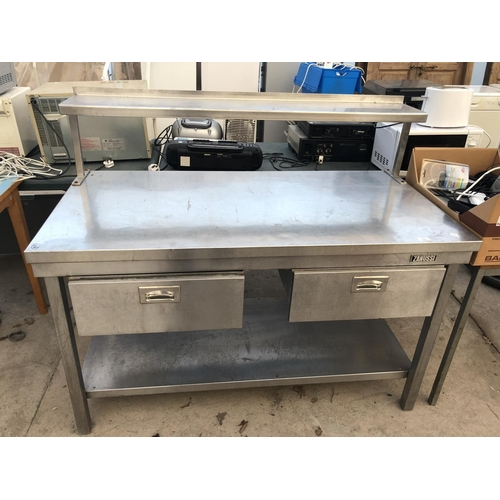 163 - A STAINLESS STEEL CATERING BENCH WITH TWO DRAWERS AND LOWER SHELF - WIDTH 140 CM, HEIGHT 117 CM, DEP...