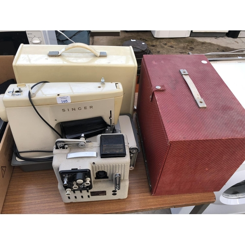 165 - A CASED 'SINGER' SEWING MACHINE TOGETHER WITH A 'EUMIG' P8 PHONOMATIC PROJECTOR IN CASE (2)...