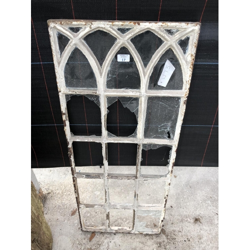 17 - A HEAVY CAST METAL 15 PANEL WINDOW FRAME...