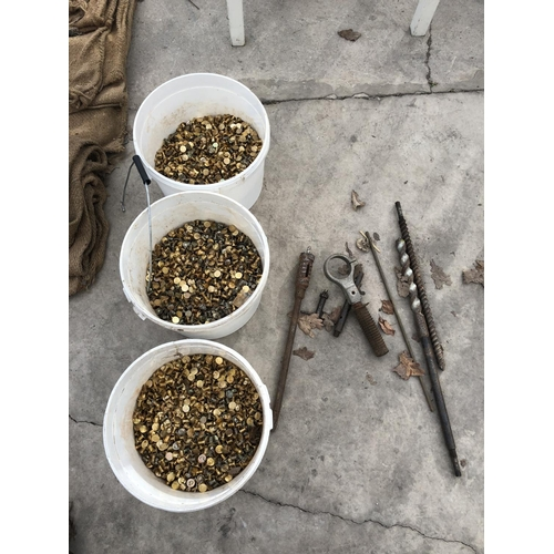 33 - THREE BUCKETS CONTAINING VARIOUS FLAT HEAD SCREWS ETC...