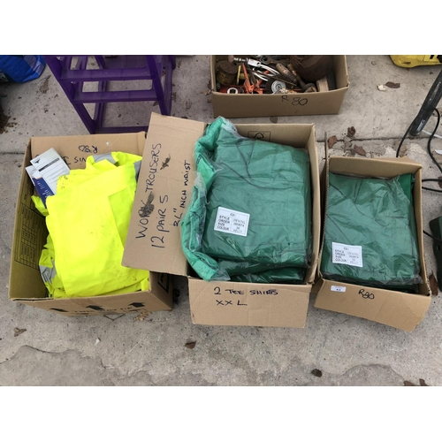43 - THREE BOXES CONTAINING VARIOUS 'WORK WEAR' ITEMS TO INCLUDE 6 PAIRS OF WORK TROUSERS, 32