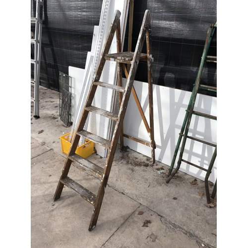 5 - A SET OF VINTAGE WOODEN STEP LADDERS...