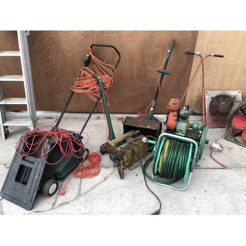 60 - A MIXED GROUP OF VARIOUS ITEMS TO INCLUDE PETROL MOWER, TWO STRIMMERS (W/O), A MINI WELDER, HOSE PIP...