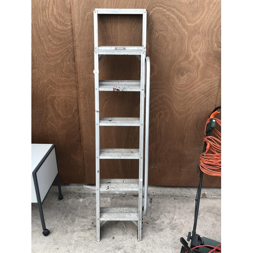 61 - A ALLOY FOLD OUT SET OF STEP LADDERS...