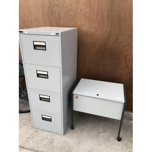 62 - A SMALL MINIATURE METAL FILING CABINET WITH LIFT UP LID TOGETHER WITH A FURTHER 'HARVEY' FOUR DRAWER...