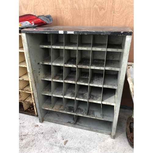 77 - AN INDUSTRIAL 'CORNERSTONE' CAST METAL 32 SECTION PIGEON HOLE SHELVING UNIT...