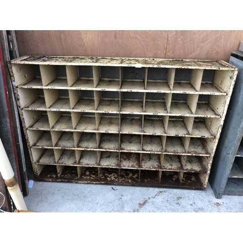 78 - A 48 SECTION INDUSTRIAL PIGEON HOLE INDUSTRIAL METAL SHELVING UNIT...