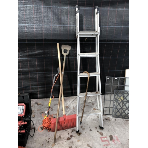 8 - A LARGE SNOW SHOVEL, STRIMMER, WORKING ORDER, A WALKING STICK AND FIVE STEP STEPLADDER...