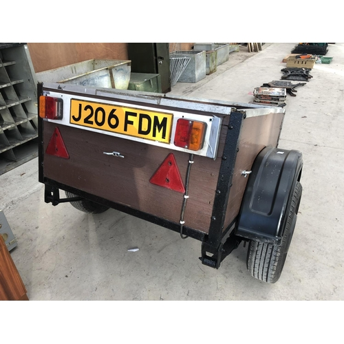 81 - A WOODEN CAR TRAILER WITH REAR LIGHT BOARD, TWO SPARE TYRES AND CAR ATTACHMENT...