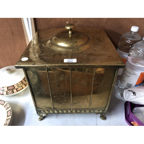 201 - AN ART DECO STYLE BRASS LIDDED COAL BOX, WITH INNER LINING AND TWIN HANDLES...