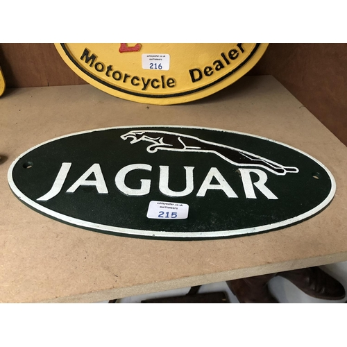 215 - A 'JAGUAR' GREEN PAINTED CAST METAL SIGN...