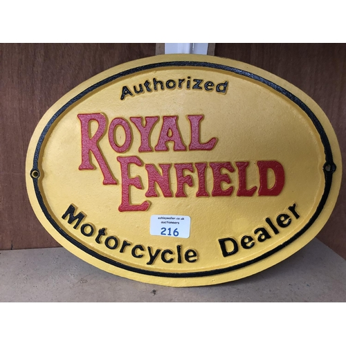 216 - A 'ROYAL ENFIELD' YELLOW PAINTED CAST METAL SIGN...