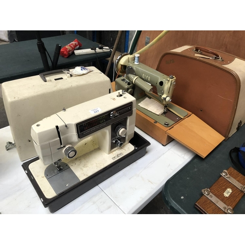 227 - AN 'ALFA' CASED VINTAGE 'SEW-TRIC' LIMITED SEWING MACHINE TOGETHER WITH A FURTHER 'TOYOTA SUPER STRE...