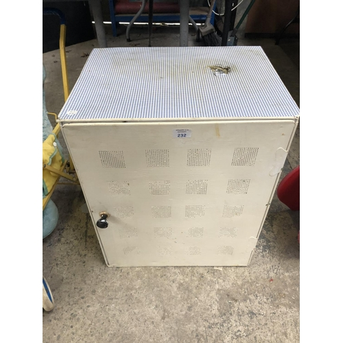 232 - A VINTAGE WHITE PAINTED MEAT SAFE WITH CHEQUERED TOP...