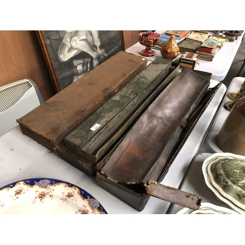 235 - A GROUP OF FOUR VARIOUS GUN CASES TO INCLUDE A METAL EXAMPLE, LEATHER AND TWO CANVAS EXAMPLES (4)...