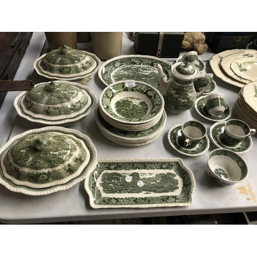 236 - A 26 PIECE 'ADAMS' GREEN IRONSTONE CHINA DINNER SERVICE COMPRISING LIDDED TUREENS, COFFEE POT, OVAL ...