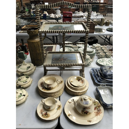 239 - A 37 PIECE 'ALFRED MEAKIN' CERAMIC HUNTING SCENE DINNER SERVICE, TOGETHER WITH TWO TIER FOLDING CAKE...