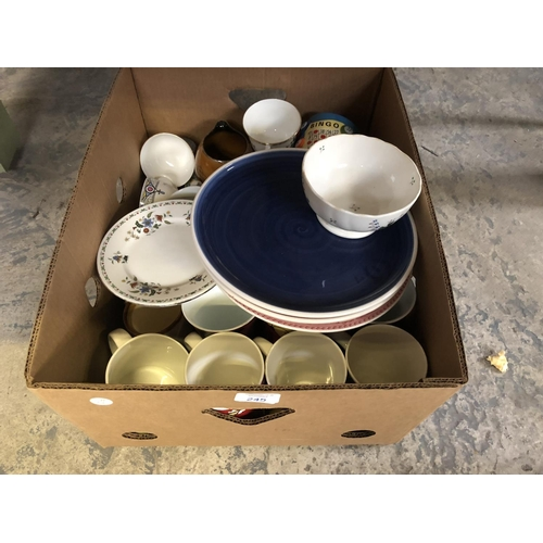 245 - A BOX CONTAINING A QUANTITY OF VARIOUS MUGS, PLATES, CERAMICS, ETC (QTY)...