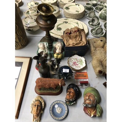 251 - A MIXED GROUP OF VARIOUS CERAMICS AND GLASS TO INCLUDE A MODEL OF A HIGHLAND BULL (A/F), VINTAGE GLA...