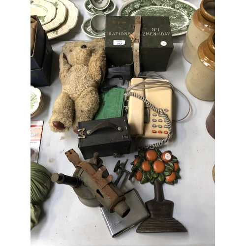 252 - A MIXED GROUP OF ITEMS TO INCLUDE VINTAGE TELEPHONE, HAND HELD BURNER, MILITARY RATIONS WORLD WAR BO...