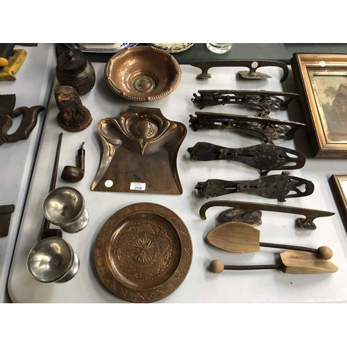 258 - A MIXED GROUP OF ITEMS TO INCLUDE THREE SETS OF VINTAGE ICE SKATES, ARTS AND CRAFTS STYLE CRUMB SCOO...