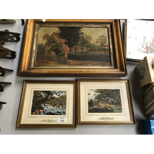 259 - A POSSIBLY 19TH CENTURY OIL PAINTING OF A COTTAGE TOGETHER WITH TWO SILK HUNTING PICTURES (3)...