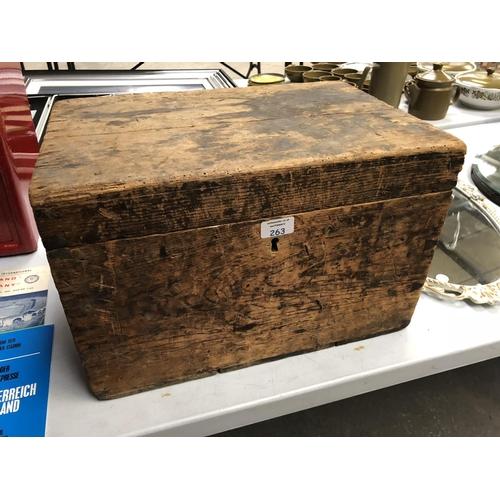 263 - A VINTAGE PINE TOOL BOX...