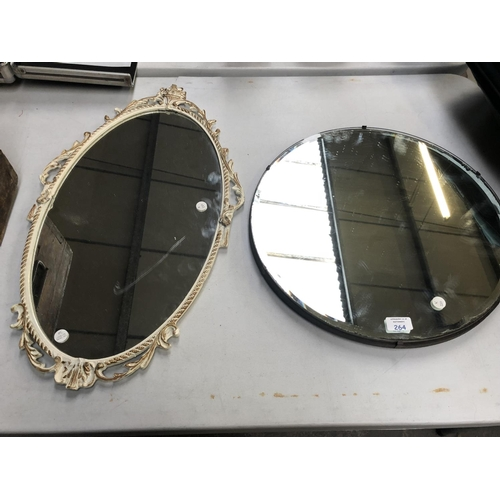 264 - AN ART DECO STYLE BEVELED EDGE CIRCULAR MIRROR TOGETHER WITH FURTHER DECORATIVE GILT PAINTED MIRROR ...