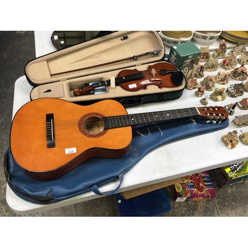 265 - A 'HI SPOT' CZECHOSLOVAKIAN WOODEN ACOUSTIC GUITAR WITH CASE...