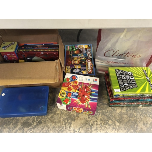 268 - A MIXED GROUP OF VARIOUS TOYS AND BOOKS TO INCLUDE 'GUINNESS BOOK OF WORLD RECORDS', 'CLUNK', 'THE S...