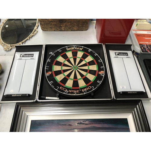 271 - A 'UNICORN ECLIPSE PRO PDC' DARTBOARD IN FOLD OUT HANGING DISPLAY...
