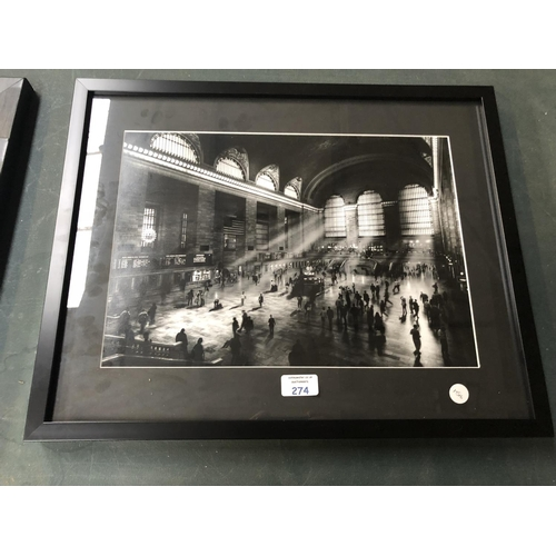 274 - A FRAMED PHOTOGRAPH OF 'GRAND CENTRAL STATION'...