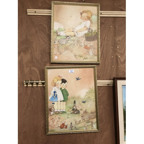 276 - A PAIR OF GILT FRAMED 'MABEL LUCIE ATWELL' STYLE PICTURES BY L. ALLEN 48CM X 38CM...