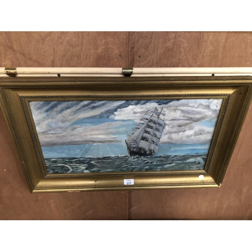 277 - AN OIL PAINTING OF A CLIPPER SHIP IN SEASCAPE, IN GILT FRAME 44CM X 72CM...