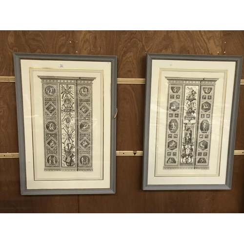 279 - A PAIR OF GREY PAINTED FRAMED ARCHITECTURAL PRINTS 115CM X 78CM...