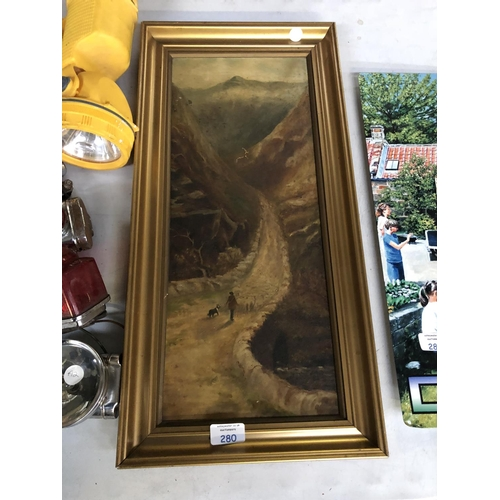 280 - A GILT FRAMED PICTURE OF A MOUNTAINOUS LANDSCAPE...